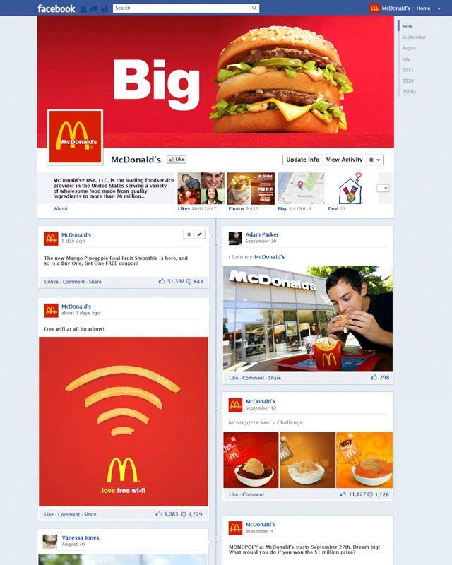 fanpage timeline facebook mac donalds