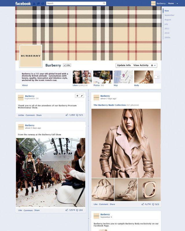 Timeline de fanpage facebook Burberry